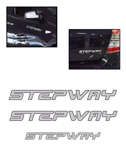 kit sandero stepway 2012 adesivos prata + friso traseiro