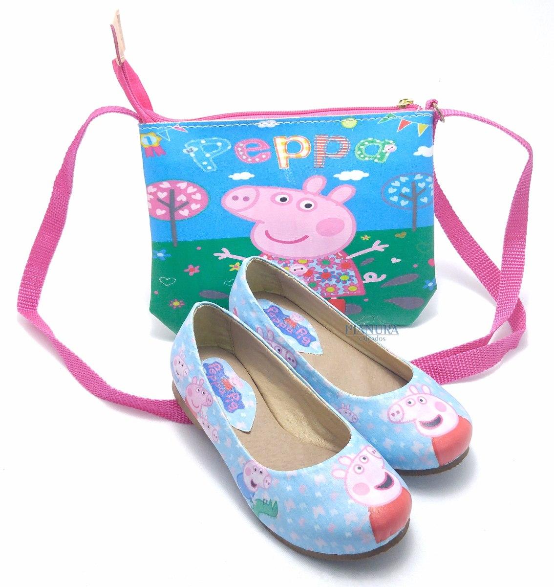 4e7cdef5ec kit sapatilha infantil menina peppa pig com bolsa. Carregando zoom.