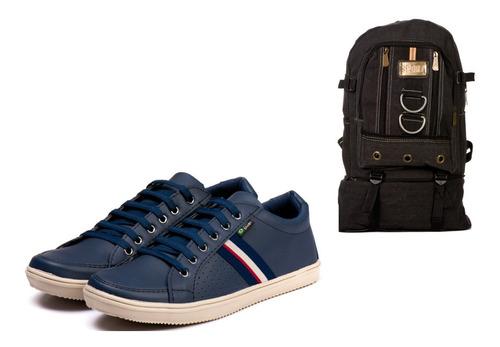 kit sapatênis azul + mochila em lona tamanho grande preta masculino em 12 x sem juros