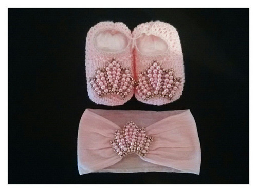 kit sapato bebê c/ faixa bordada newborn menina bege