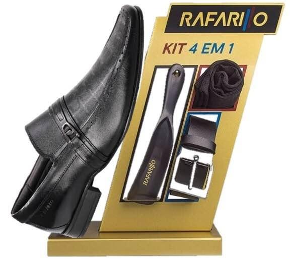 2d0d7d50d3 Kit Sapato Couro Rafarillo Preto+cinto+meia+calçadeira 39 - R  189 ...