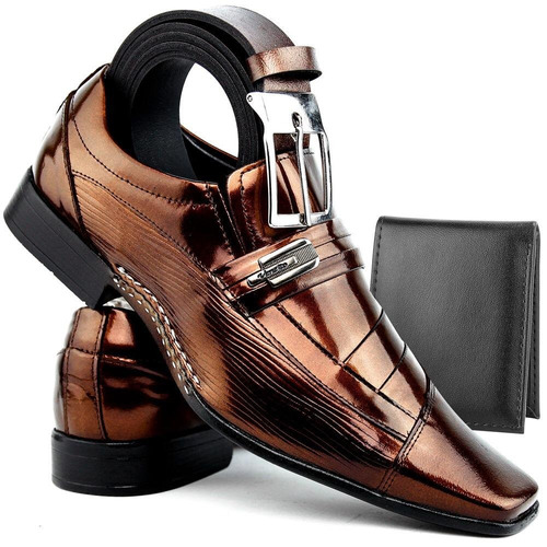 kit sapato masculino alto brilho verniz couro legitimo 3em1