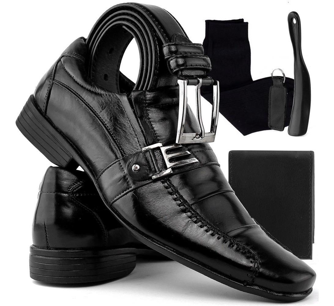 d77a66e91af64 kit sapato masculino social carteira/ cinto/ chaveiro/ meia. Carregando  zoom.