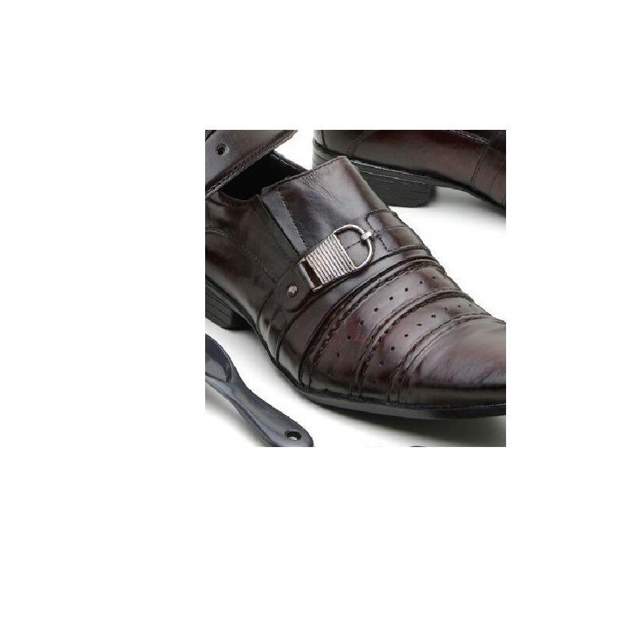 f9d33d504ba87 kit sapato social cinto calçadeira chaveiro meia 1070 marrom. 2 Fotos