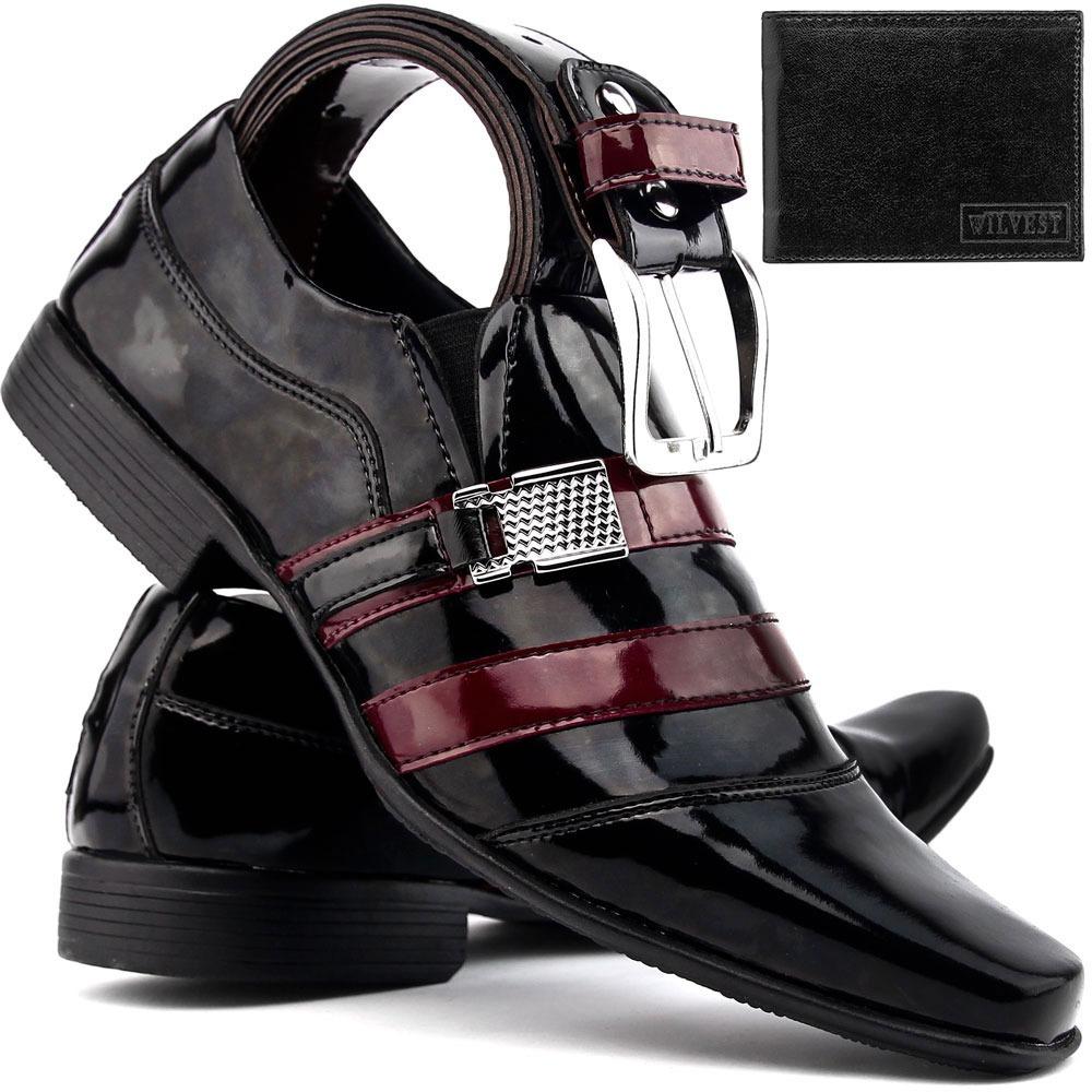 e4583a463 kit sapato social masculino couro envernizado+cinto+carteira. Carregando  zoom.