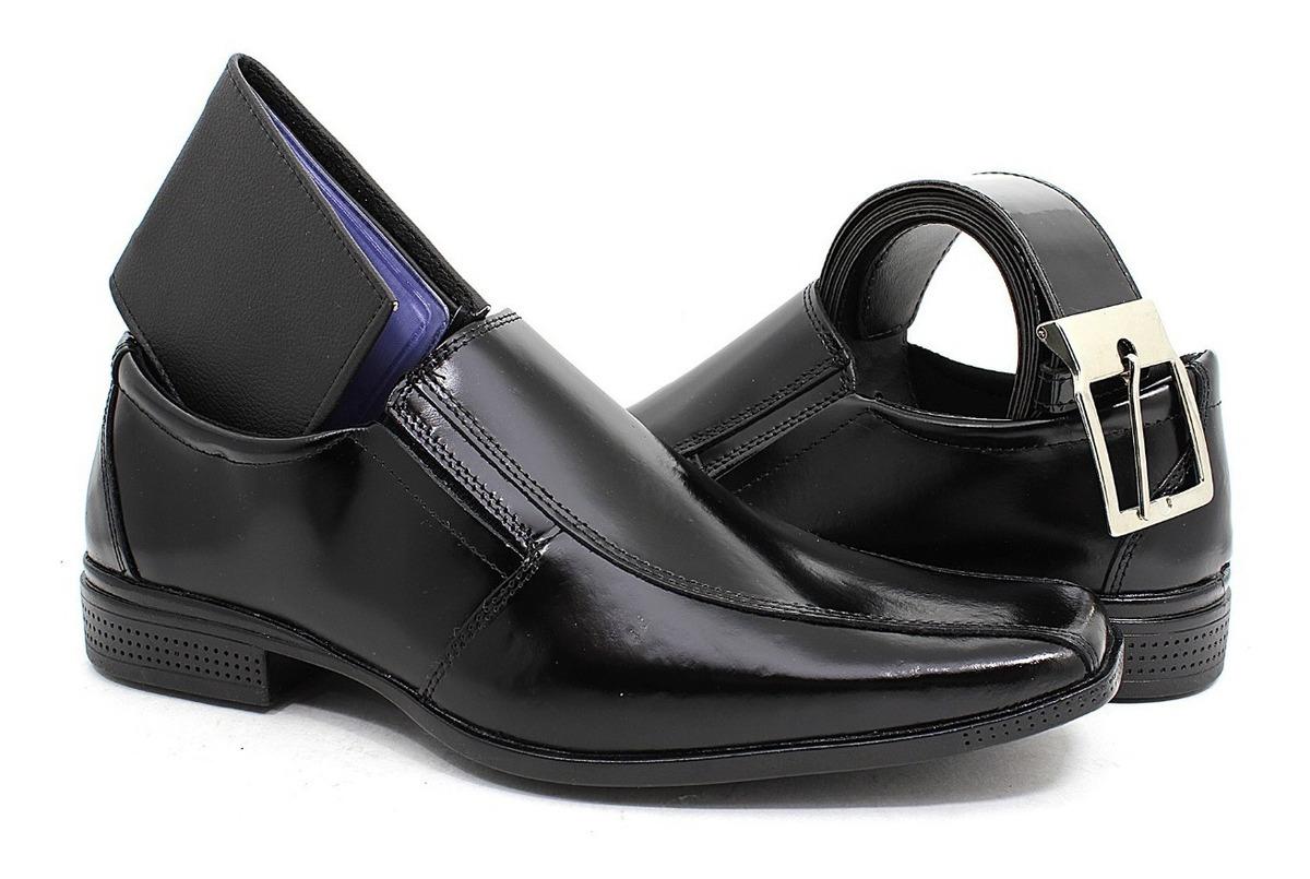 1e4044534 kit sapato social masculino couro legítimo + cinto+carteira. Carregando  zoom.