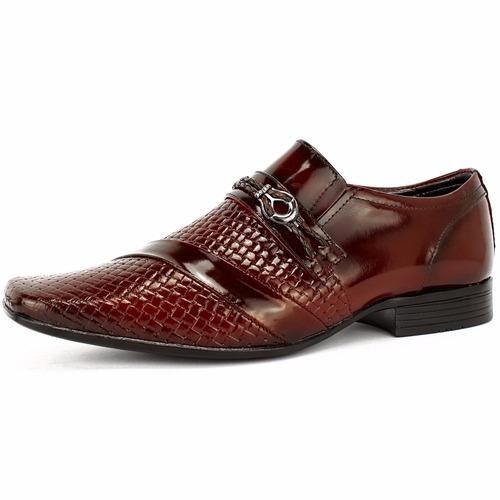 kit sapato social masculino couro verniz + cinto + carteira