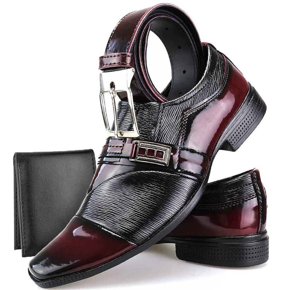 c23a048205 kit sapato social masculino verniz brilho + cinto + carteira. Carregando  zoom.