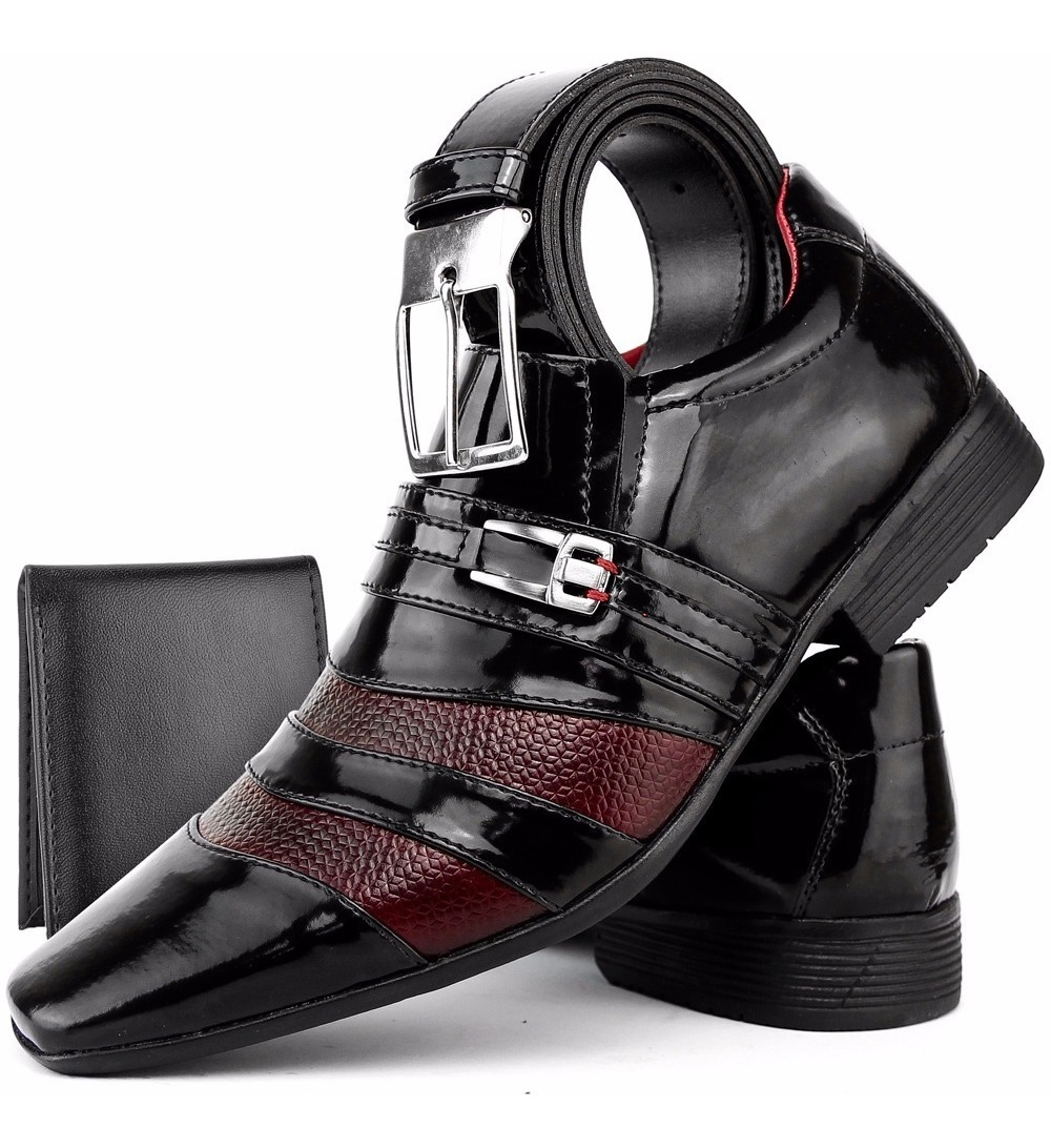 6d8deabf4 kit sapato social masculino verniz brilhoso cinto + carteira. Carregando  zoom.