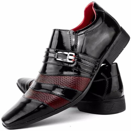 kit sapato social masculino verniz brilhoso cinto + carteira