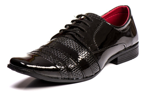 kit sapato social masculino verniz + brinde carteira 12x sem juros