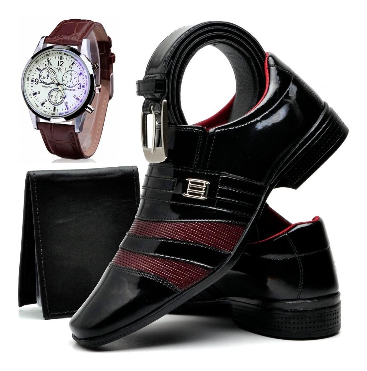 aeea4be0f kit sapato social masculino verniz + relógio cinto carteira. Carregando  zoom.