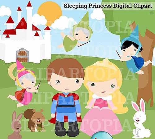 kit scrapbook digita princesa aurora bela adormecida clipart