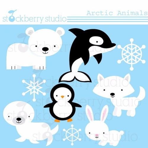 kit scrapbook digital animais ártico imagens clipart cod 2