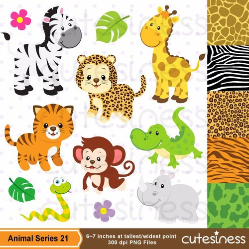 kit scrapbook digital animais da selva imagens clipart cod28