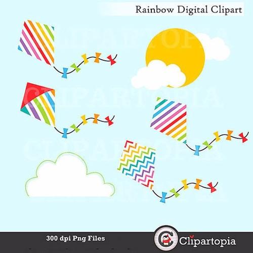 kit scrapbook digital arco iris clipart imagens