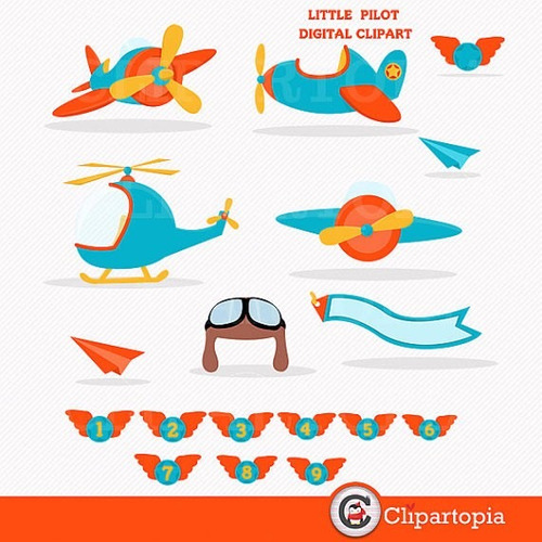 kit scrapbook digital aviões imagens clipart