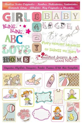 kit scrapbook digital baby shower girl niña elementos png