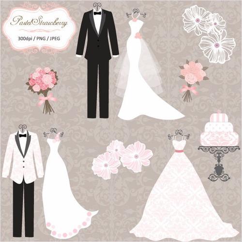 kit scrapbook digital casamento imagens clipart cod 5