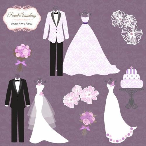 kit scrapbook digital casamento imagens clipart cod 6