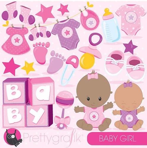 kit scrapbook digital chá de bebê imagens clipart cod 16