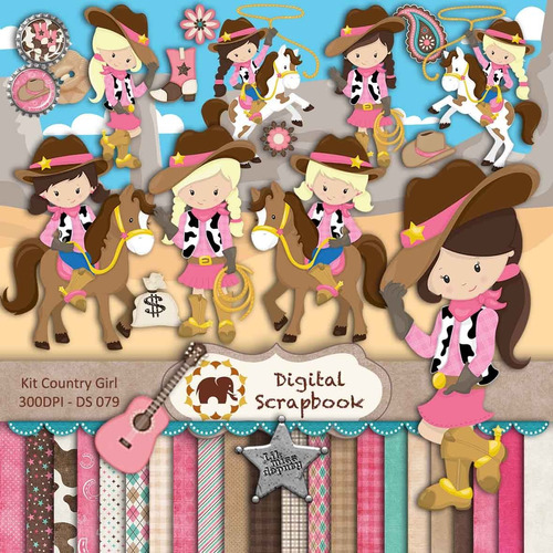 kit scrapbook digital - festa country (cowgirl)