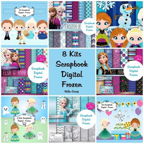 kit scrapbook digital   frozen + brinde. envio por e-mail.