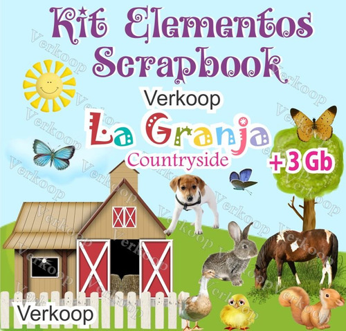 kit scrapbook digital granja countryside fondos elementos