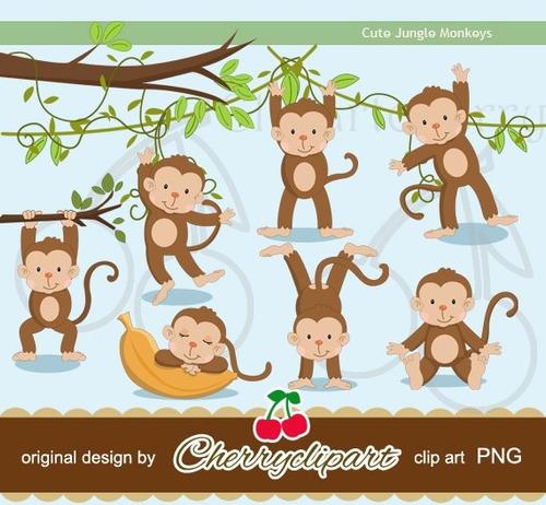 kit scrapbook digital macacos imagens clipart cod 12