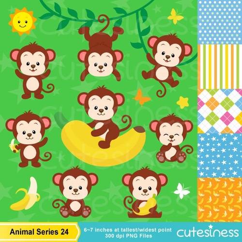 kit scrapbook digital macacos imagens clipart cod 15