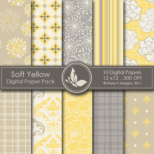 kit scrapbook digital papeis amarelo