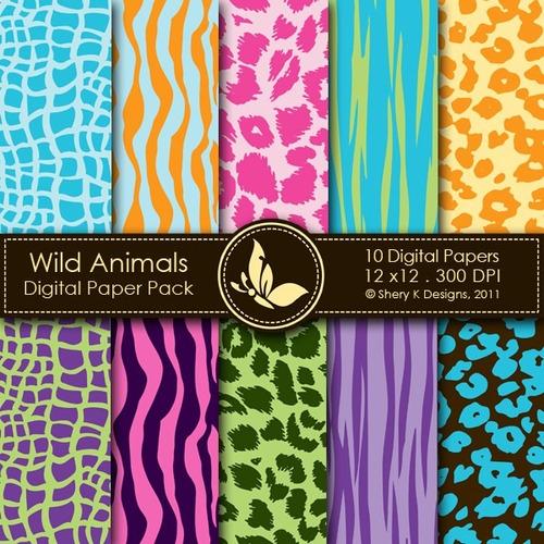 kit scrapbook digital papéis animal print cod 11