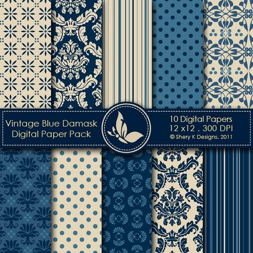 kit scrapbook digital papéis azul cod 2