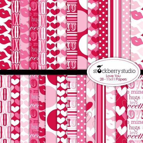 kit scrapbook digital papéis corações cod 5