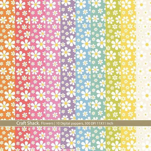 kit scrapbook digital papeis flores cod 2