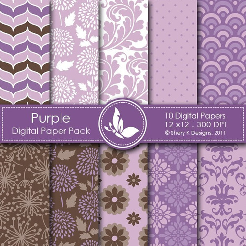 kit scrapbook digital papéis flores cod 38
