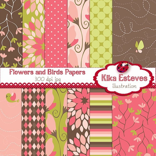 kit scrapbook digital papéis flores cod 54