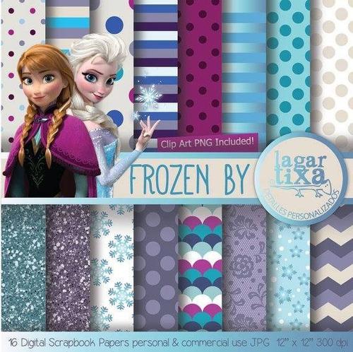 kit scrapbook digital papéis frozen cod 12