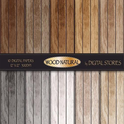kit scrapbook digital papeis madeira