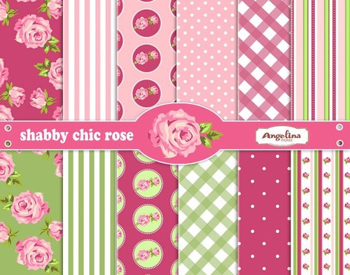 kit scrapbook digital papéis shabby chic cod 62