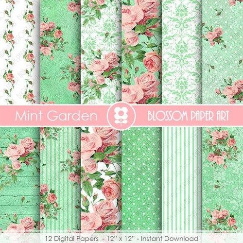 kit scrapbook digital papéis shabby chic cod 68