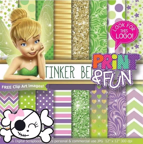 kit scrapbook digital papéis tinker bell sinho