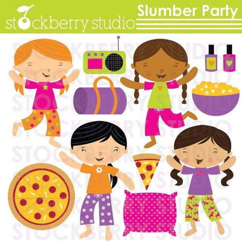 kit scrapbook digital pijama party imagens clipart cod 3