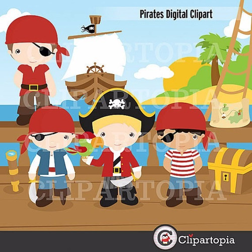 kit scrapbook digital piratas imagens clipart cod 2