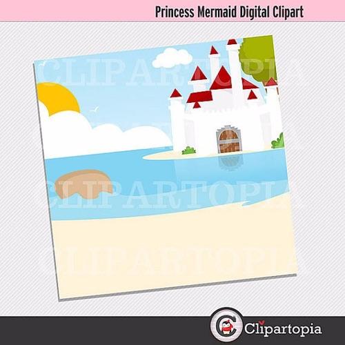 kit scrapbook digital princesa ariel pequena sereia