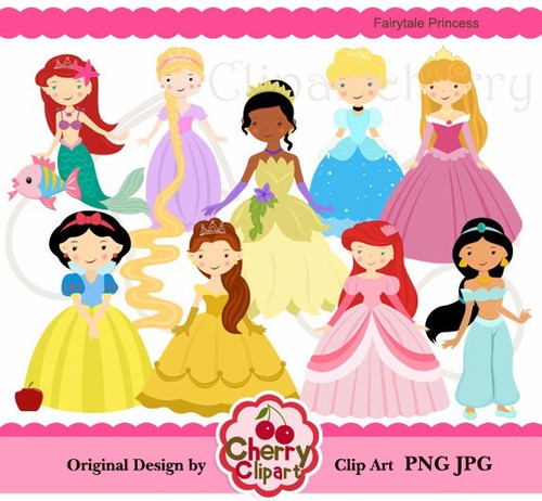 kit scrapbook digital princesas disney imagens clipart cod 4
