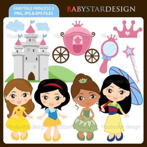 kit scrapbook digital princesas disney imagens clipart cod16