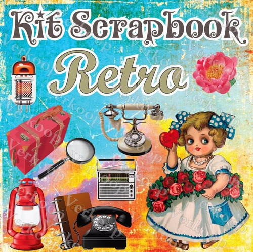 kit scrapbook digital retro fotos fondos elementos