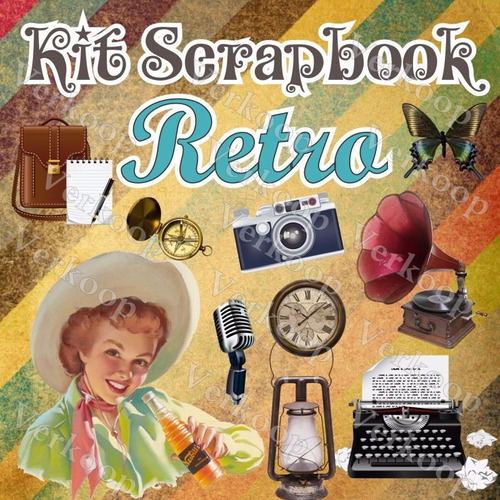 kit scrapbook digital retro fotos fondos elementos imagenes