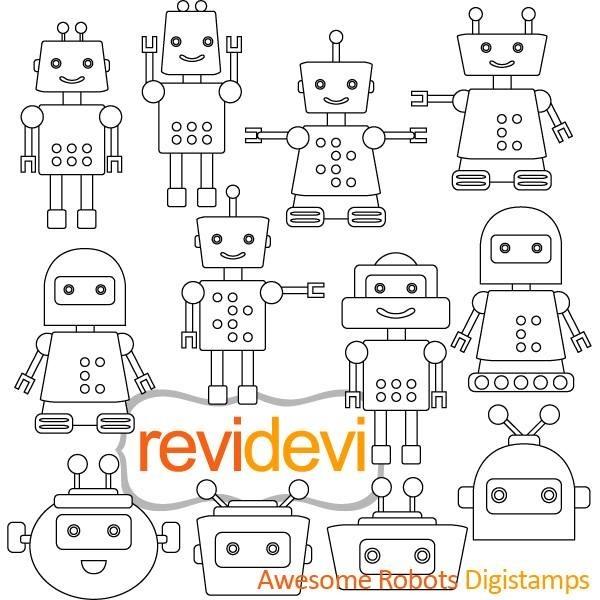 Kit Scrapbook Digital Robo Stamp Desenhos Para Colorir R 7 75